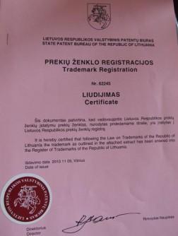 Šilutės žinių prekės ženklo registracijos liudijimas
