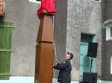 Šv. Florijono skulptūrą atidengė pats jos autorius Stasys Šarkauskas