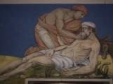 """Šilutės M. Liuterio evangelikų liuteronų bažnyčios freska """"Gailestingasis samarietis"""" 2002 m."""
