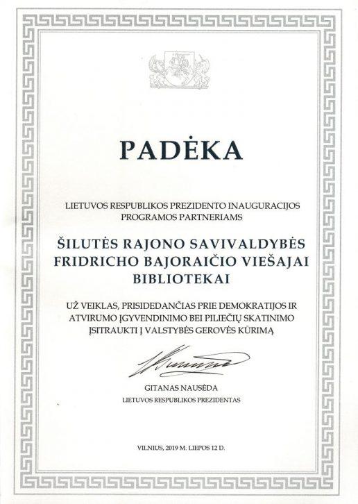Prezidento Gitano Nausėdos padėka