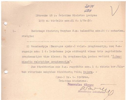 1939 m. leidimas atidaryti Ž. Naumiesčio progimnaziją nuo rugsėjo pirmosios.