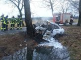 Po avarijos gyvi sudegė du žmonės (papildyta, nustatytos žuvusiųjų asmenybės)