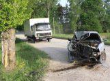Žvyrkelyje nesuvaldė automobilio ir trenkėsi į pakelės medį