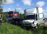 Krovininis automobilis taranavo lengvąjį automobilį ir jį nubloškė į griovį (papildyta)