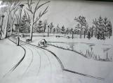 Gimnazistės Ingridos Kiltinavičiūtės piešinyje būsimas atminimo alėjos vaizdas