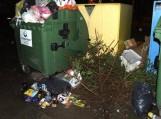 Gyventojai nupuoštas Kalėdines eglutes neša prie buitinių atliekų surinkimo konteinerių