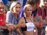 K. Jašauskaitė Lietuvos lengvosios atletikos  čempionate iškovojo garbingą ketvirtąją vietą. Nuotraukos Edvardo LUKOŠIAUS